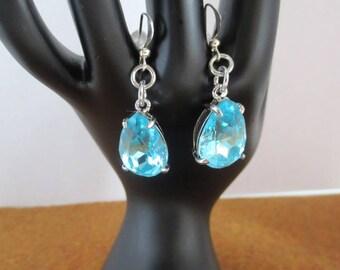 Blue Teal crystal dangle earrings