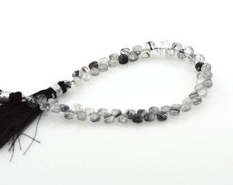 Black Rutlaied QTZ spinalFaeted Heart Briolette Calibrated 7mm