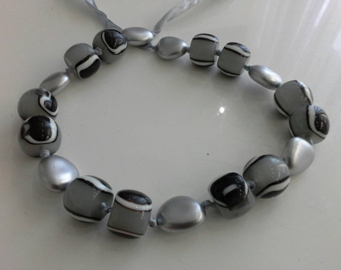 Black and White Liquorice Allsorts Lolly & Silver Resin Beaded Ribbon Necklace