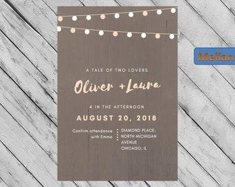 Wedding Invitation, Lights, Digital Invitation, Printable Invitation, Custom Invitation, Wedding Invite, Classic