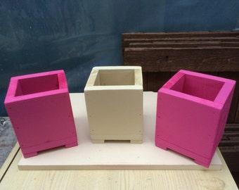 Hand made wooden set of 3 plant pots / plant pot holders - sweet sundae and country cream colours