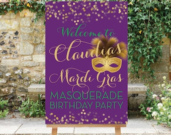 Printable Mardi Gras Welcome Sign Masquerade Birthday Party Sign Purple Gold Digital Sign 30th 40th 50th 60th Sweet 16 The Mardi Gras