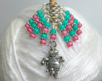 Running Turtle Knitting Marker Set - Snag Free Beaded Stitch Markers - Gifts for Knitters - Knitting Jewelry