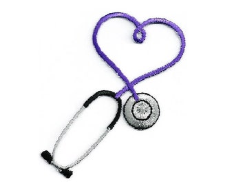Embroidered Purple Stethoscope Iron On Applique Patch - Medical - Nurse - Doctor - Scrubs - CRAFT PROJECTS