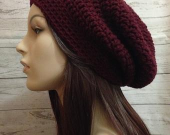 Claret Crochet Hat / Claret Slouchy Beanie / Womens Crochet Slouchy / Claret Crochet Slouchy Hat / Boho Slouchy Hat / Womens Accessories