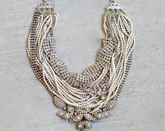 Made To Order Bridal Necklace, Rhinestone Bridal Necklace, Rhinestone Crystal Silver Necklace, Pearl Wedding Necklace