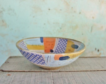 READY TO SHIP Ceramic Pottery Bowl Dish Stoneware Blue Orange Abstract Shapes Rustic Texture Australia