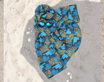 Blue beach wrap with african waxprint pattern