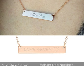 Name Necklace Personalized Bar Necklace Inspirational Gift for Her Engraved Necklace Rose Gold Necklace Bridesmaids Gift Custom Jewelry