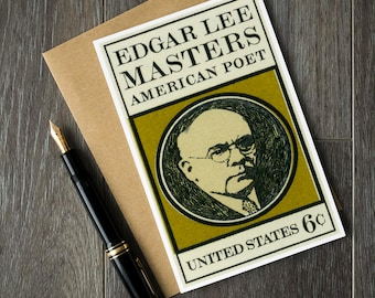 Edgar Lee Masters, American Poet, poetry gifts, poetry cards, writer cards, gifts for writers, bookworm gifts, literary gifts, literature