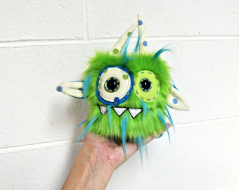 Mini Monster Plush - Handmade Minor Monster Plush - Lime & Blue Faux Fur - OOAK Monster - Small Monster Plush - Small Cute Monster Soft Toy