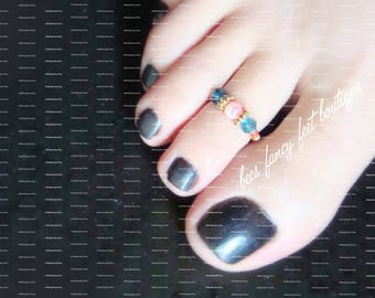 Pink Stone Toe Ring, Blue Green Crystal Toe Ring, Stretch Bead Toe Ring