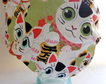 Waterproof Shower Cap - Japanese Kawaii Lucky Cats Kittens Apple Green - Retro Bath and Beauty Cap