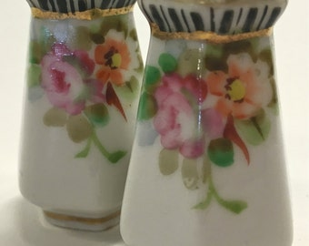Vintage Tiny Porcelain China Salt and Pepper Shakers with Gold and Floral Detail