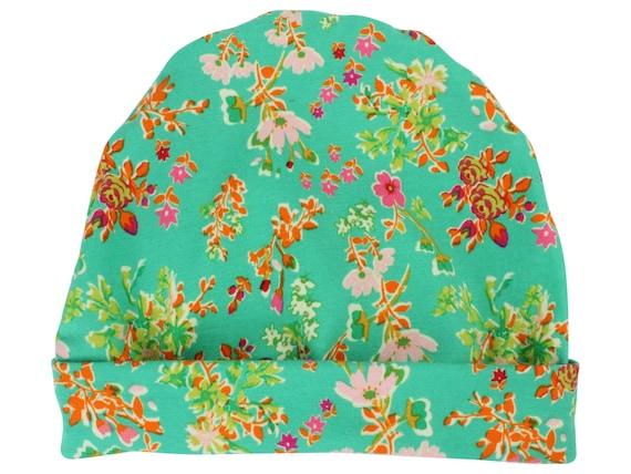 Green Floral Baby Beanie Hat Green Baby Leggings Baby Newborn Beanie Toddler Beanie Slouch Beanie Baby Gift Girl Green Floral Baby Hat