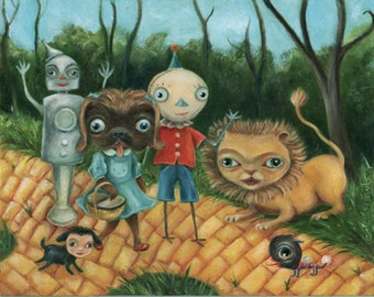 Surreal Funny Wizard of Oz Painting, Dressed animals, Yellow Brick Road,  Wibbley World,  Print size options available