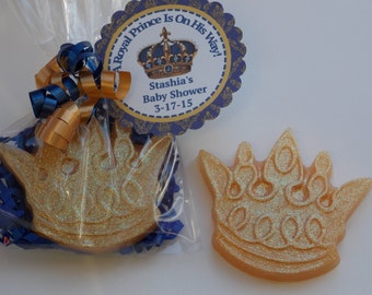 10 ROYAL CROWN Soap Favor {With Tags & Curly Ribbons} - Royal Prince Baby Shower or Birthday, Little Man Shower, Princess Sophia the 1st
