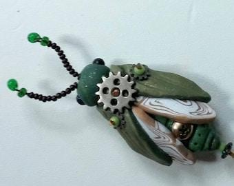 Steampunk Green Bug Bead