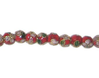 6mm Red Round Cloisonne Bead, 10 beads