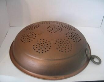 Vintage Copper Colander With Brass Hook