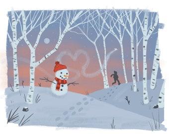 Snowman in Winter Art Print