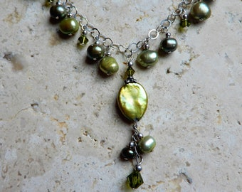 Irish Rain Necklace, Green Freshwater pearls and Swarovski crystals