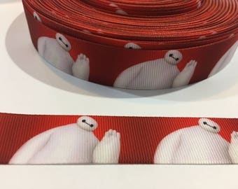 3 Yards of Ribbon - Baymax Big Hero 6 leaning right  7/8 inch Wide