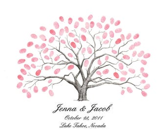 Personalized Thumbprint Tree Wedding Guest Book Alternative Live Oak Tree