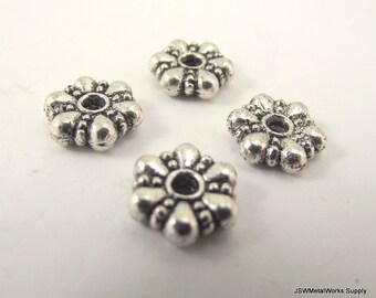 10 Large Pewter Rondelle Beads, Pewter Rondelles, 10 x 3 mm