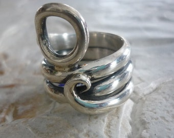 Sterling Silver Ring, Wrapped Wide Ring, Chunky Organic Ring, Statement Silver Ring, Silver Wire Ring, Silver Circle Ring, Big Ring #156