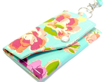 Clutch Wallet with Key Ring and Wristlet | Aqua Floral