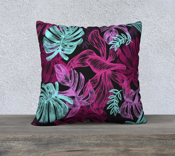 colorful botanical tropical leaves pillow cover 22x22 inches