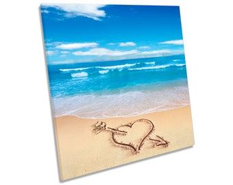Beach Love Heart Sand Blue CANVAS WALL ART Square Print