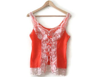 Vintage 80s Red Lace Camisole Lingerie