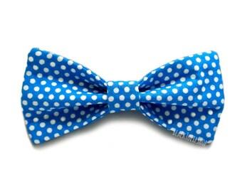 Polka Dot Hair Bows Blue White Small Bows For Girls Teens Women