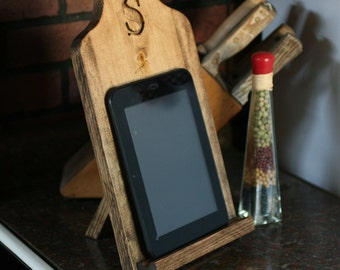 Monogram kitchen recipe stand personalized IPad Kindle tablet stand smartphone holder desktop gift natural wood