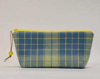 Blue Green Wool Plaid Zipper Pouch Gadget Case Cosmetics Bag - READY TO SHIP