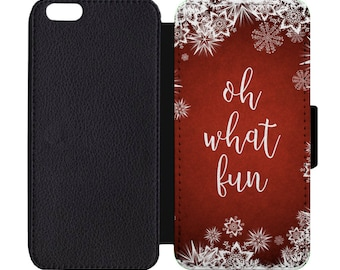 Christmas Oh What Fun Snowflakes Festive Holiday Print Leather Flip Wallet Case Apple iPhone 5 5S SE 6 6S 7 7S 8 8S X Plus