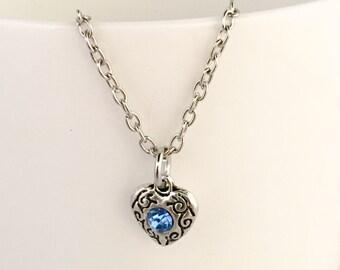 September birthstone necklace, september pendant necklace, september necklace, sapphire birthstone necklace, sapphire pendant necklace