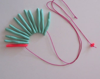 Electric neon pink pop mint pastel mix long sea anemone necklace