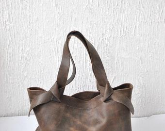 Leather tote bag Tote leather bag Dark brown leather bag  Woman bag  Tote bag Everyday bag Casual bag Custom tote bag Shoulder bag