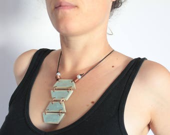 Statement Necklace, Silver & Blue, Up-cycled Wood, Copper, Leather, Painted Wood, Boho, Hippie, Festival Wear, Tribal, Geometric, Handmade