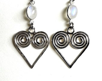 Sterling Silver Spiral Heart and Moonstone Earrings