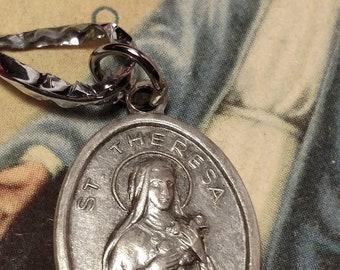 Flash Sale Vintage Saint St Theresa Pray For Us Silver Tone Italian Made Religious Medal Pendant