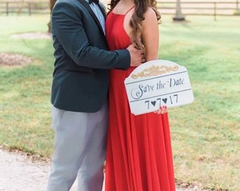 Save the Date sign, Photo Prop, Fantasy Sign, Engagement Sign, Shabby Chic Save the Date Sign, Fantasy Engagement Prop, Classy Save the Date