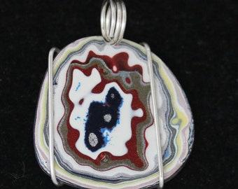 Fordite Pendant, Maroon white blue, silver twirl bail 13ct