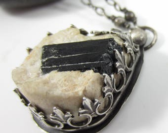 Embedded Necklace - Black Tourmaline Crystal in Matrix set in Sterling Silver