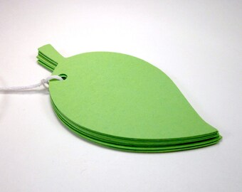 10 Gift Tags- Green Leaf Tags- Party Tags- Wedding Tags- Decoration