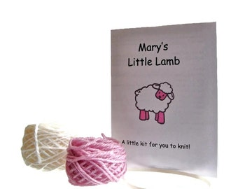 Knit Kit Sheep Lamb Ewe Ornament Kit Wool Knitting Kit Hanging Holiday Decoration Knit Ornament Cabled Sheep White Lamb Ornament