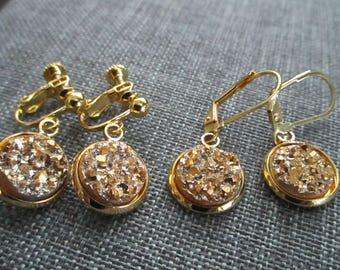 Gold Druzy Drops . Earrings . Screw Back or Leverbacks